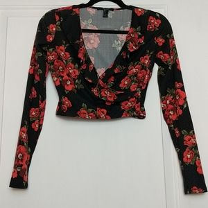F21 lowcut ruffle floral crop top (never worn)